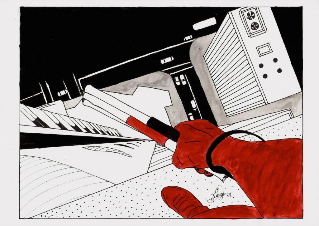 Ilustración que muestra a Daredevil desde lo alto de una azotea