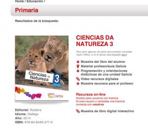 Imagen del libro de Ciencias de la Naturaleza EDEBE - RODEIRA en gallego, LOMCE, tomada el 15/04/14
