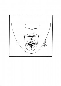 Ilustración en B/N que muestra la parte inferior de una cara con la lengua fuera y, sobre ella, dibujada, una rosa de los vientos con los puntos cardinales señalados.