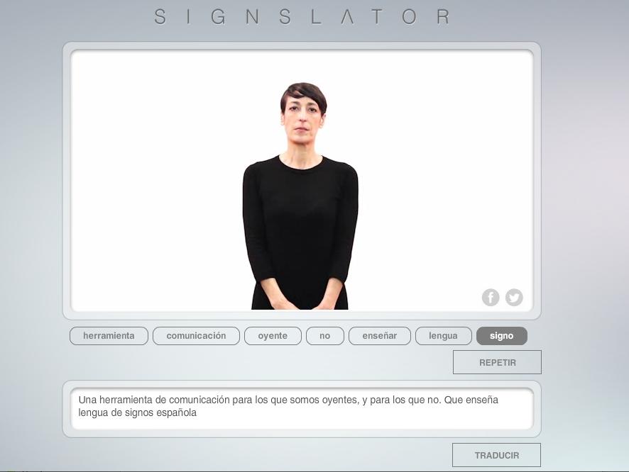 Imagen que muestra una captura de pantalla de la web  Signslator corriendo en un ordenador