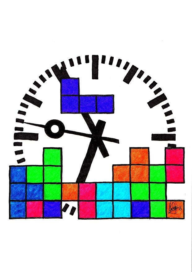 Imagen de piezas de Tetris cayendo sobre la esfera de un reloj