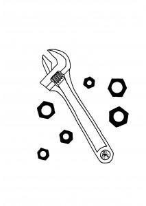 Ilustración original del artículo en B/N que muestra una llave inglesa y un juego de tuercas de diferentes tamaños.