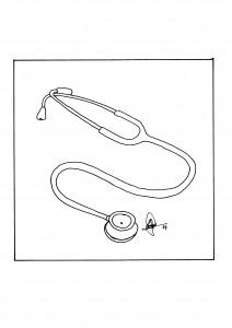 Ilustración original del artículo en B/N que muestra un fonendoscopio