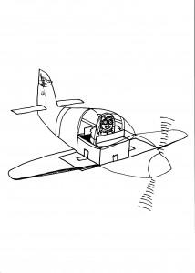 Ilustración original del artículo que muestra un avión a tamaño real de juguete creado con cajas de cartón y celofán.