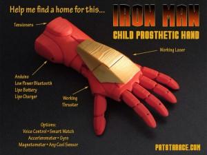 Mano protésica Ironman para niños con sus características