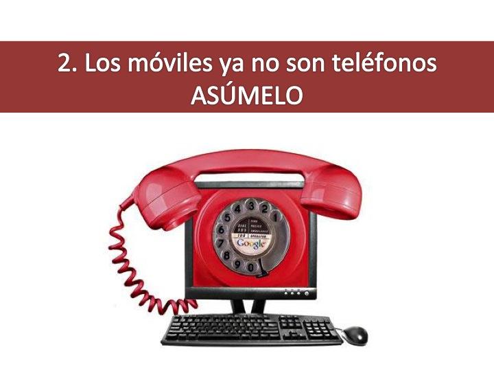 Imagen de un ordenador cuya pantalla es un teléfono de dial clásico con la leyenda: 2 los móviles ya no son teléfonos, asúmelo. Imagen tomada de http://www.callsfromyourpc.com/wp-content/uploads/google-voice-for-free-internet-calls.jpg