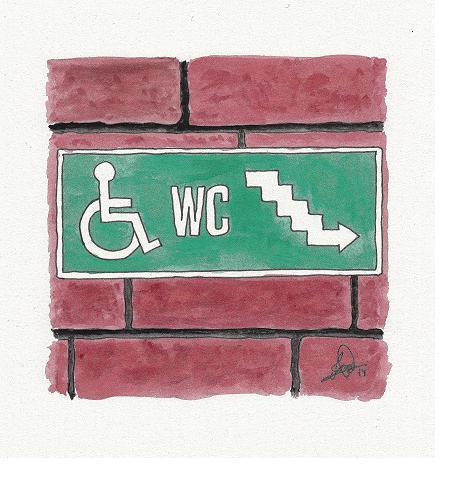 Ilustración de supuesta señal de descenso a aseos en silla de ruedas por unas escaleras, colocada sobre muro de ladrillo