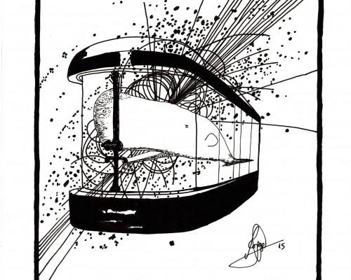Ilustración en B/N que muestra a un cachalote en una cabina de control.