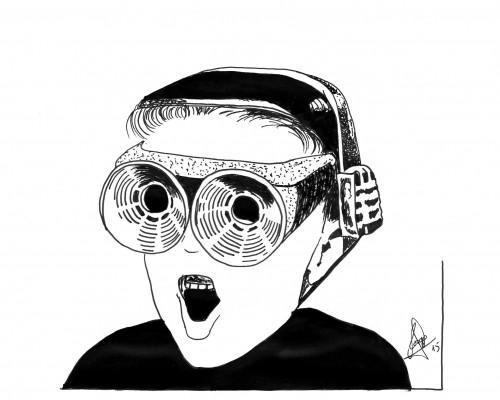 Ilustración B/N que muestra a un niño con unas futuristas gafas