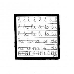 Ilustración en B/N que muestra ejercicios de caligrafía
