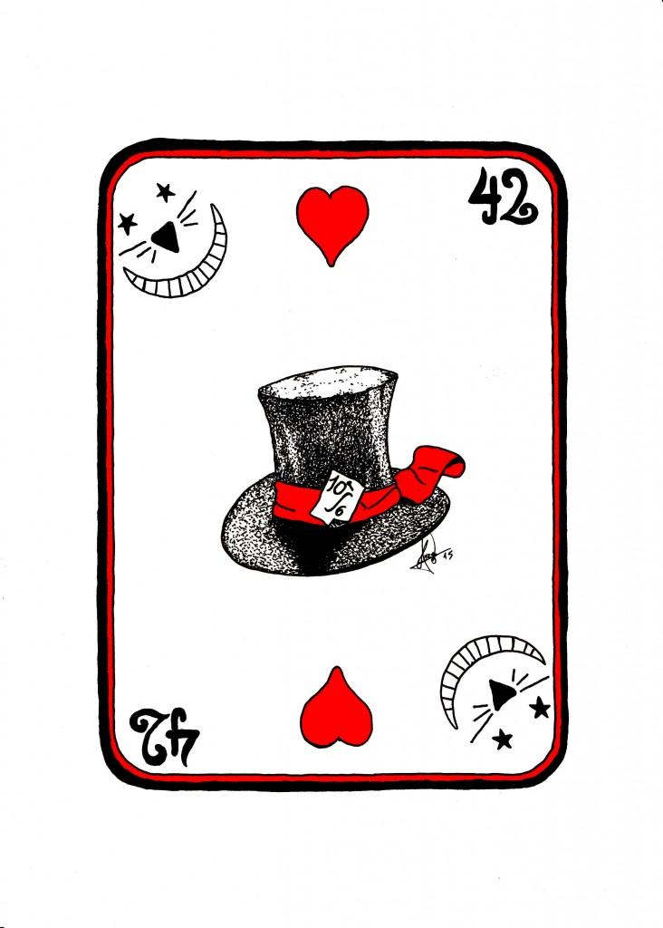 Ilustración que muestra un As de corazones en B/N y rojo  con el dibujo de un sombrero de copa, un gato de Cheshire y el número 42