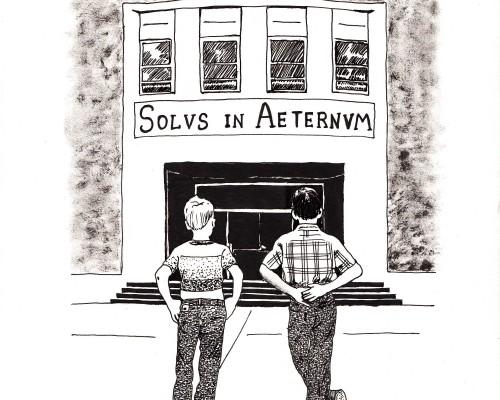 Ilustración en B/N que muestra a dos chavales ante una escuela con la inscripción Solus in Aeternum