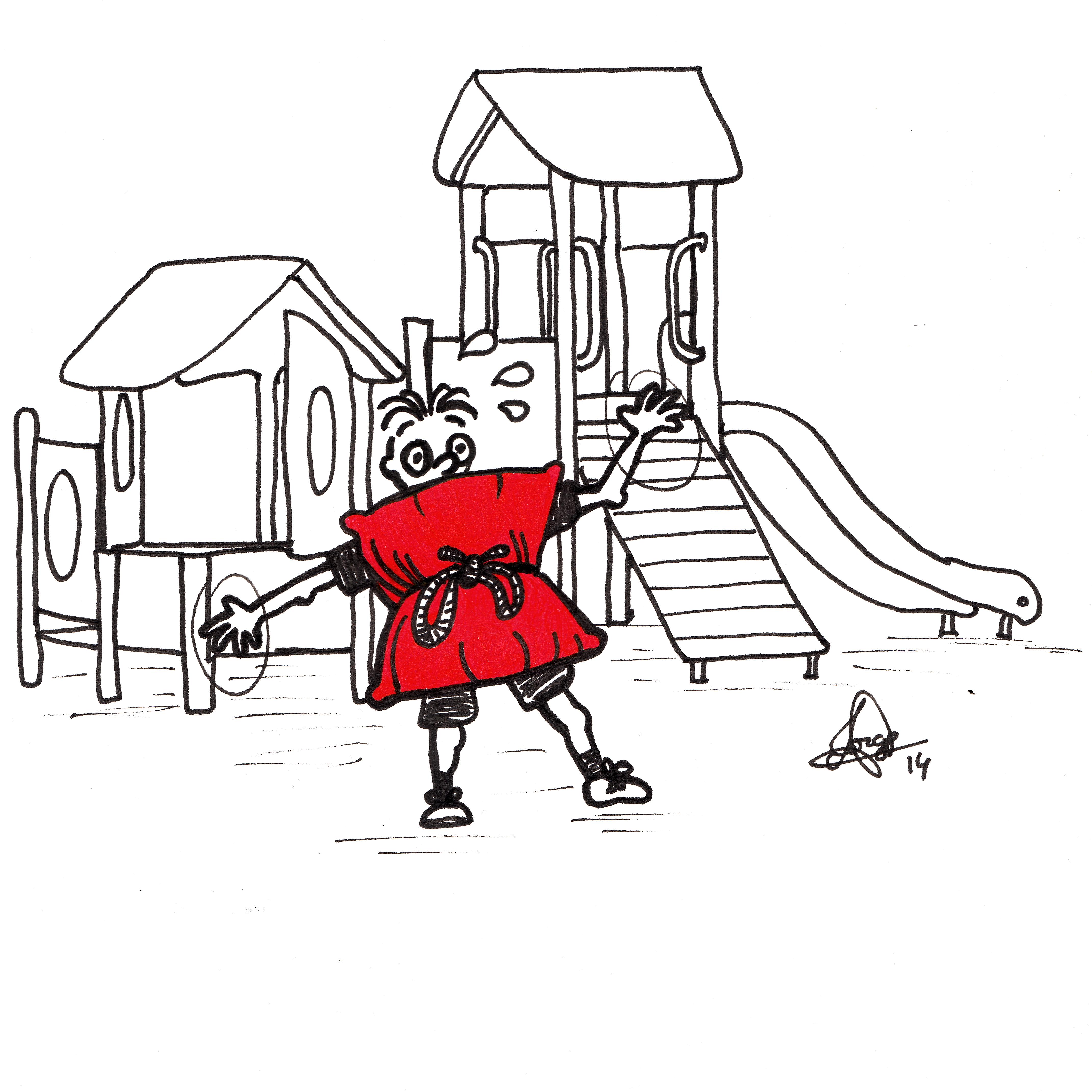 Ilustración que muestra a un niños ante unos columpios protegido por cojines en B/N