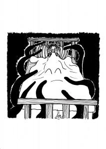 Ilustración en B/N que muestra a un monstruo con tentáculos acechando la cama de un niño