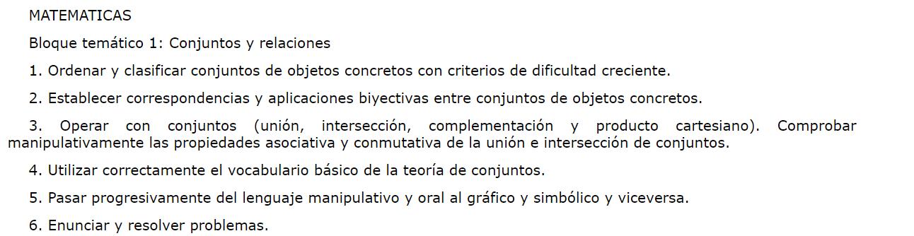 MATEMATICAS  Bloque temático 1: Conjuntos y relaciones  1. Ordenar y clasificar conjuntos de objetos concretos con criterios de dificultad creciente.  2. Establecer correspondencias y aplicaciones biyectivas entre conjuntos de objetos concretos.  3. Operar con conjuntos (unión, intersección, complementación y producto cartesiano). Comprobar manipulativamente las propiedades asociativa y conmutativa de la unión e intersección de conjuntos.  4. Utilizar correctamente el vocabulario básico de la teoría de conjuntos.  5. Pasar progresivamente del lenguaje manipulativo y oral al gráfico y simbólico y viceversa.  6. Enunciar y resolver problemas.