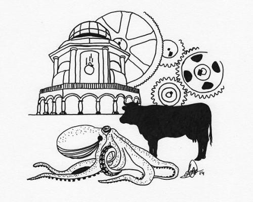 Dibujo en B/N de la Casa de las Ciencias de A Coruña, engranajes, un pulpo y la silueta de una vaca.