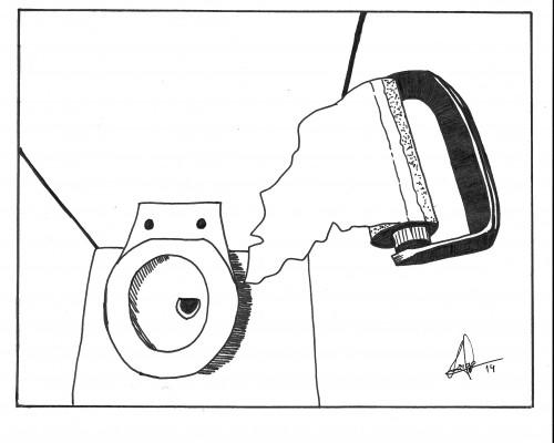 Dibujo cienital de un aseo destartalado en B/N