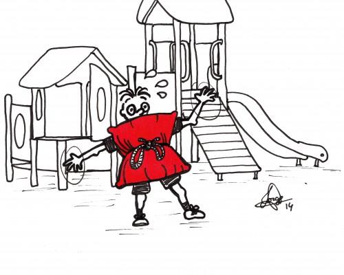 Ilustración que muestra a un niños ante unos columpios protegido por cojines