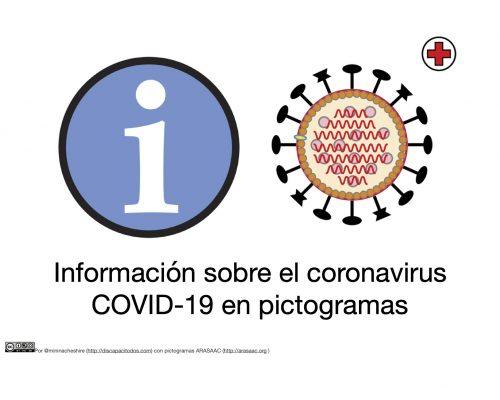 """Pictogramas de información y virus+ texto """"Información sobre el coronavirus COVID-19 en pictogramas"""" y licencia CC by-nc-sa y reconocimiento ARASAAC"""